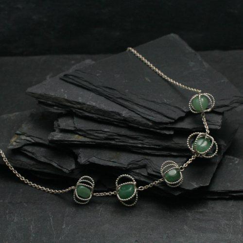 Ketting - Zilver - Aventurijn - Pareldraad - Green Queen
